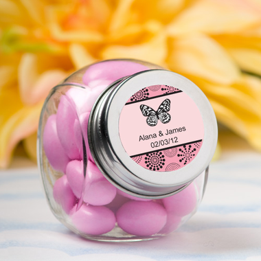 Personalized Label Butterfly Party Favor Jars