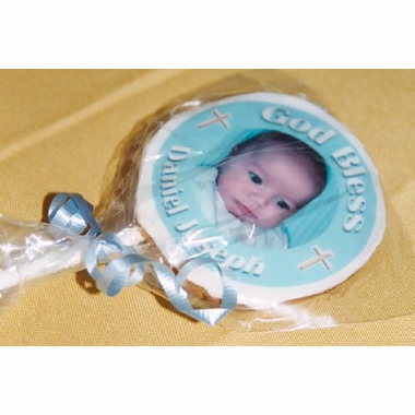 Photo Cookies Christening Favors - 1 dozen Cookie Pops