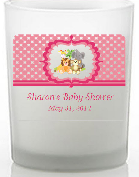 Pink Safari Baby Shower Favors Candle