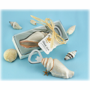 Sea Shell Bottle Opener with Thank You Tag