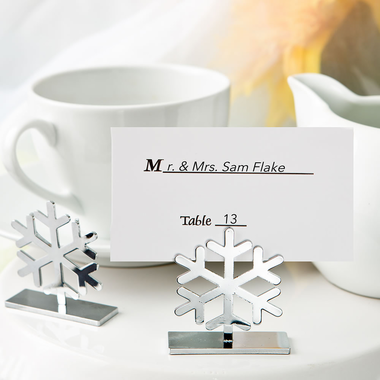 Silver Snowflake Placecard Holders