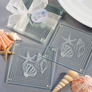 Summer Party Favors Beach Theme Glass Coasters