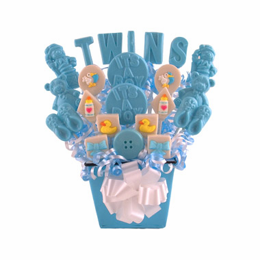 Twin Baby Shower Decorations Blue Lollipop Centerpieces