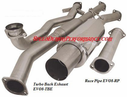 Turbo XS Turbo-back Exhaust System Part # EVO8-TBE for the 2003 and up Evo VIII