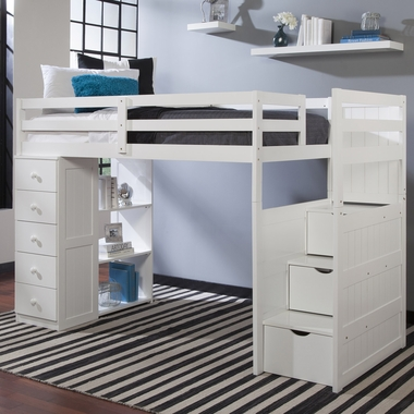 mountaineer twin loft bed with storage tower and built in stairs and drawers in white 2430 1 by. Black Bedroom Furniture Sets. Home Design Ideas