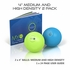 "Myofoam Deep Tissue Trigger Point Massage Balls 4"" Medium & High Density 2 Pack"