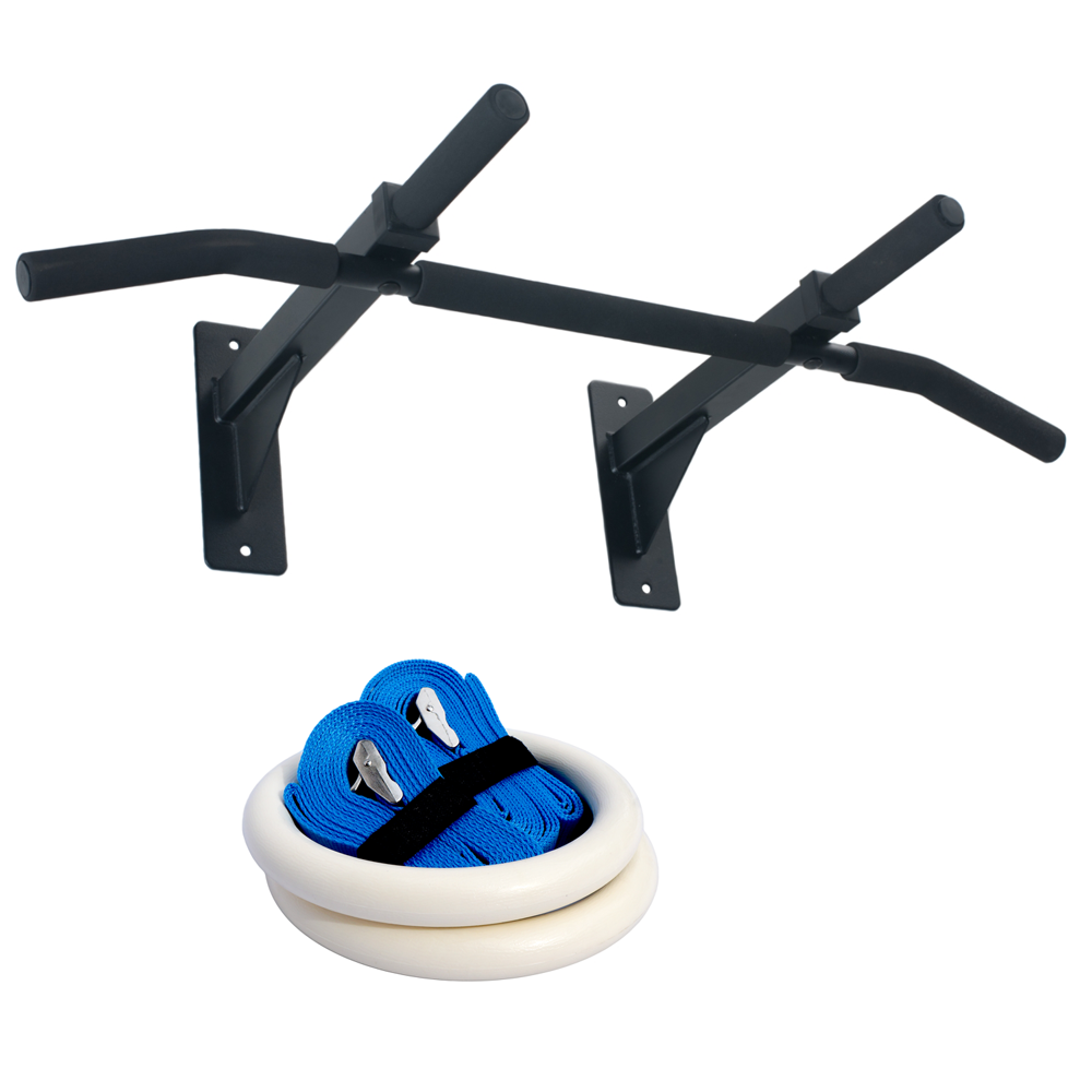 Gymnastics Equipment In Canada: Wall Mount Pull Up Bar And Gymnastic Fitness Rings Gym Package