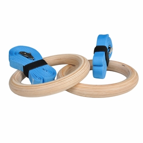 Wood Gymnastic Rings with Upgraded Easy Thread Buckles and Indexed Straps, 1.25 Inch