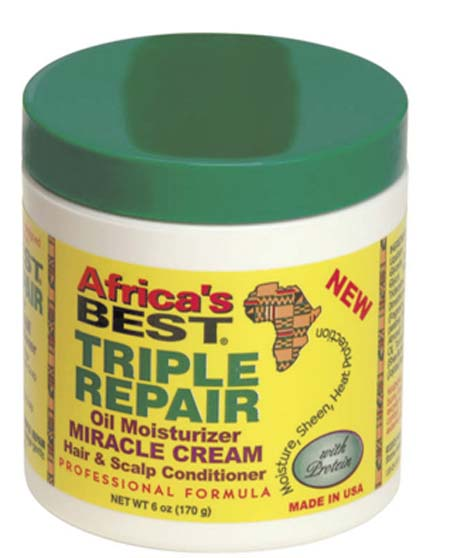 AFRICAS BEST TRIPLE REPAIR OIL MOISTURIZER MIRACLE CREAM 6 oz