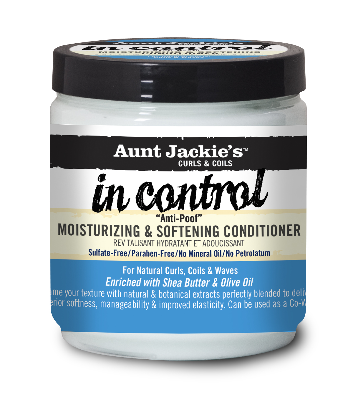 Aunt Jackie's Curls and Coils In Control Anti-Poof Moisturizing & Softening Conditioner 15 oz