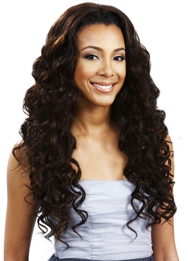 Bobbi Boss Human Hair Blend Weave A Wig SKYRA