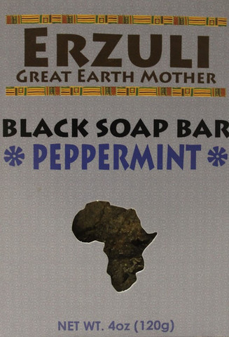 ERZULI BLACK SOAP BAR - PEPPERMINT 4 oz