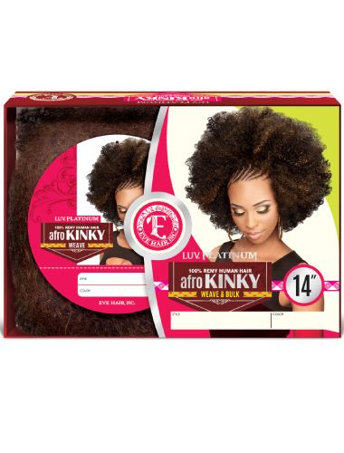 EVE 100 % HUMAN HAIR AFRO NATURAL KINKY WEAVING 12, 14 INCHES