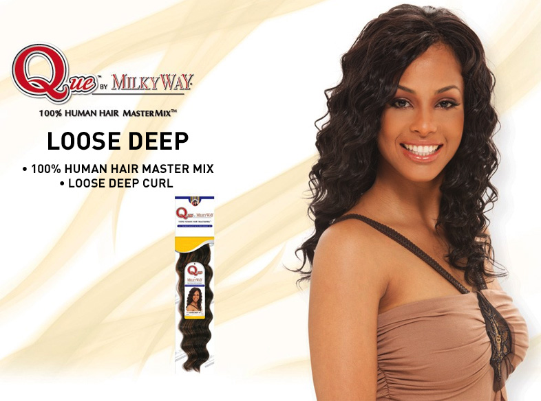 Milkyway Que Loose Deep Weave Human Hair Blend Weaving Extensions