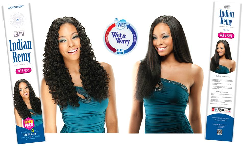 Model Remist Indian Remy Deep Kiss 4pcs Wet N Wavy