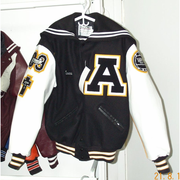 3 Color Leather Sleeeved Letter Jacket with Sailor Collar