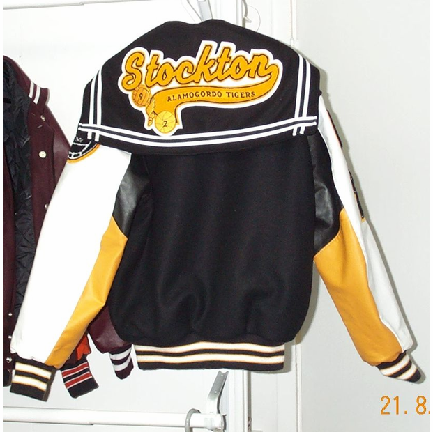 3 Color Vinyl Sleeved Letter Jacket with Sailor Collar