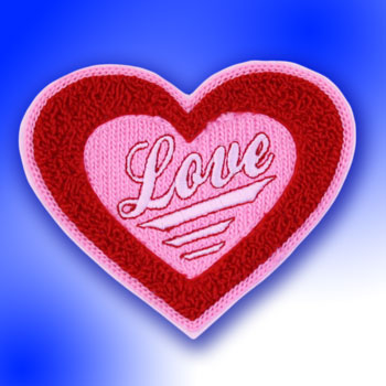 Heart Love Patch with Iron on Backing