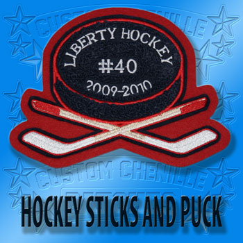 Hockey Crossed Sticks with Puck