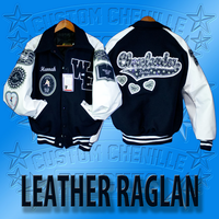 Leather Raglan Letterman Jacket
