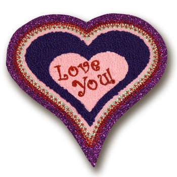 Love You Valentine Heart Chenille Patch