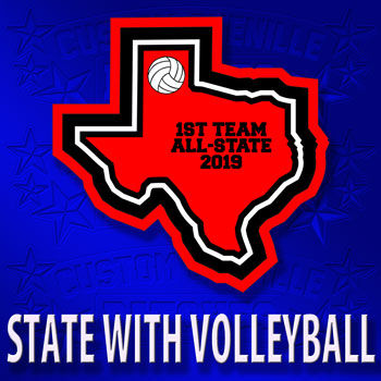 State Patch with Volleyball Icon