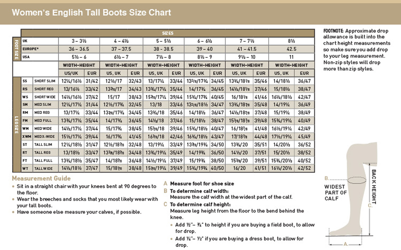 Tall Riding Boot Size Chart
