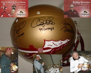 Bobby Bowden, Charlie Ward and Chris Weinke Hand Signed/Autographed Florida State Seminoles Full Size Authentic Football Helmet