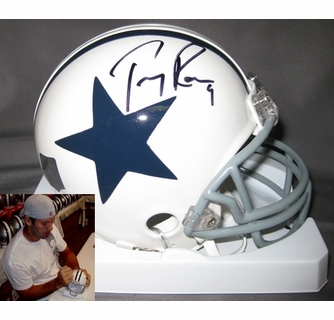 new product 2bb65 bac96 Tony Romo Hand Signed / Autographed Dallas Cowboys Mini Helmet