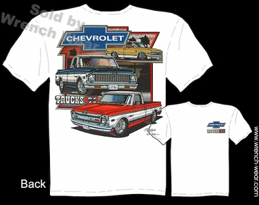 1967 - 1972 Chevrolet Truck T Shirts 67 68 69 70 71 72 Chevy Pickup Clothing Tee