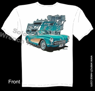 57 Corvette T shirt 1957 C1 Clothing Chevrolet Tee Fantastic Fuelie