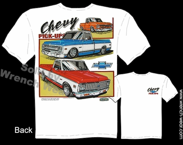 67-72 Chevrolet Pick Up Clothing 68 69 70 71 Chevy Truck T Shirts Classic Tee