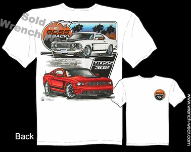69 Boss 302 Mustang T Shirt 1969 Ford Fastback Ponycar Tee The Boss Is Back