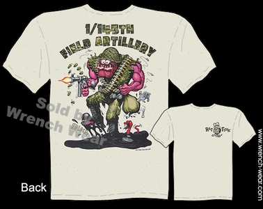 Big Daddy Apparel Rat Fink T Shirt 1/145th Field Artillery Ed Roth Shirt