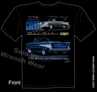 1957 Chevrolet T Shirts Classic Car Apparel Heart Of Perfection 57 Chevy Tee