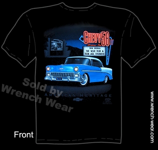 Chevrolet T Shirts 56 Chevy Shirt 1956 Bel Air Classic Car Tee Drive-In
