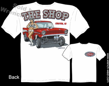 1957 Chevy Racing Tee 57 Chevrolet Clothes Gasser T Shirts Pin Up Hot Rods