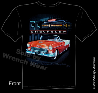 Chevy T Shirt 55 Chevrolet Shirts 1955 Bel Air Classic Car Tee Shirts