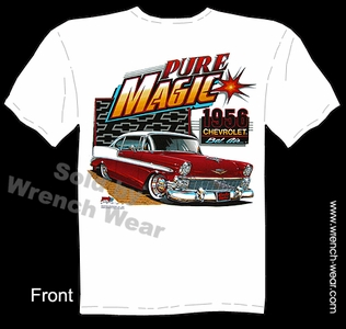 Classic Car Tshirt 1956 Chevy Tee Pure Magic 56 Chevrolet Bel Air Apparel