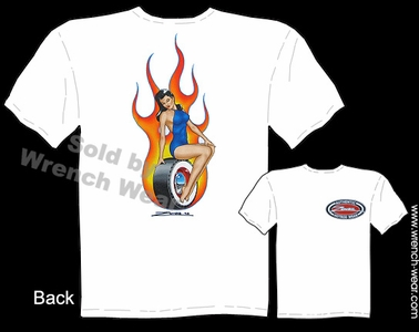 Hot Rod Pin Up Art Tee Flaming Trophy Girl Zombie Hot Rod Wear Tattoo T Shirt