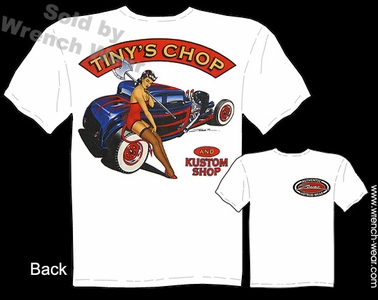 Hot Rod T Shirt 32 Ford Shirts Pin Up Girl Tee 1932 5 Window Tiny's Chop