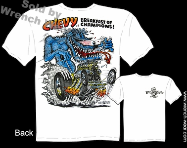 RatFink T Shirt Chevy Breakfast Of Champions Ed Big Daddy Roth Tee Hot Rod
