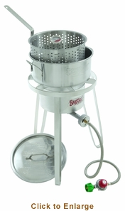 Bayou Classic Stainless Fry Pot Lid Cooker 10 Psi Therm , Model# 1135