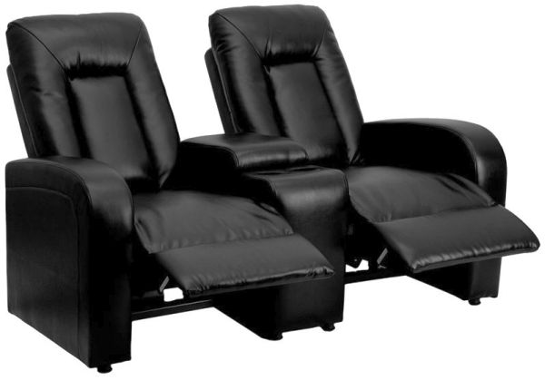 Exceptionnel Flash Furniture Black Leather 2 Seat Home Theater Recliner With Storage  Console Model BT