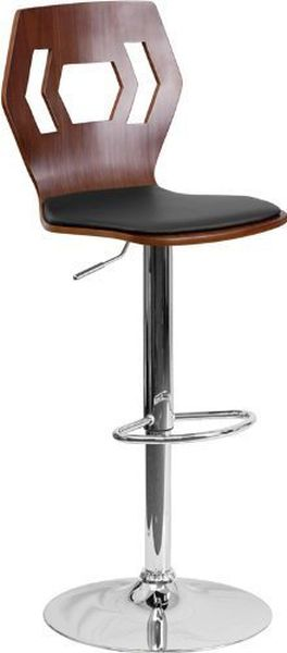Flash Furniture Walnut Bentwood Adjustable Height Bar Stool With Black  Vinyl Seat And Cutout Back,
