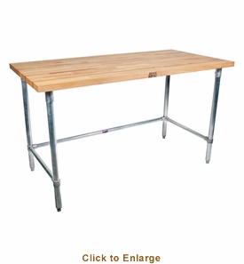 John Boos Snb 1-3/4 Thick MapleTop Work Table Ss Base And Bracing 72X24X1-3/4 W/Sc-Oil (Made In The USA), Model# SNB04