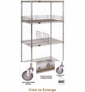 nexel stainless steel 18x36x69 wire shelf dolly truck d1836rsb. Black Bedroom Furniture Sets. Home Design Ideas