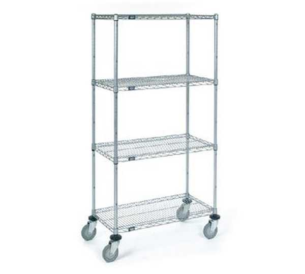 nexel stainless steel 24x60x72 wire shelf dolly truck d2460ns. Black Bedroom Furniture Sets. Home Design Ideas