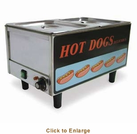 Omcan (Fma) 'Hot Dog SteamerTable TopSide By Side Hot Dog Steamer/Bun Warmer50 Hot Dogs & 30 Buns Capacity1.2 KwEtl & Cetl, Model# 17133