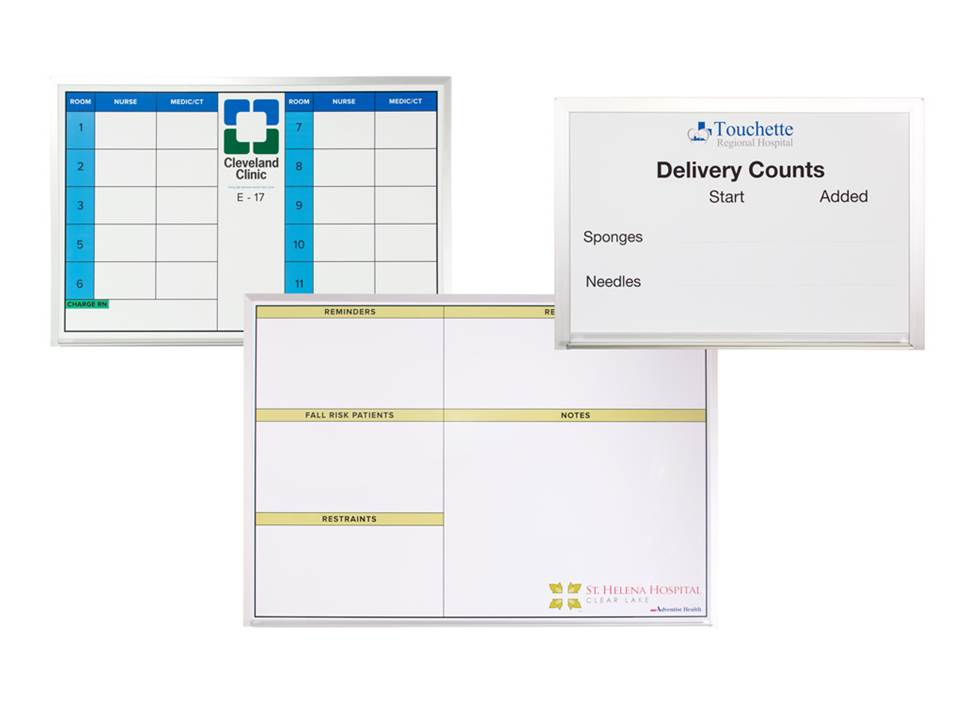 non magnetic custom printed dry erase hospital boards